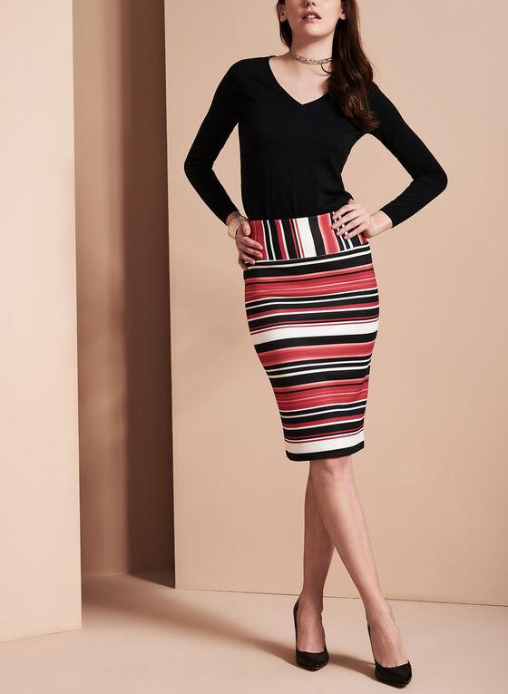 Stripe Print Pencil Skirt , Red, hi-res