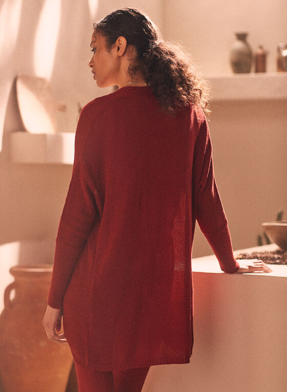 Sheer Open Front Cardigan, Red