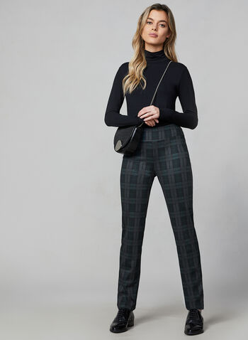 Pantalon Madison pull-on à carreaux, Noir,  automne hiver 2019, pantalon, jambe étroite, carreaux, motif, carreauté, pull-on, taille élastique, Madison, Canada