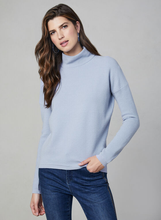 Ribbed Print Zipper Detail Sweater, Blue
