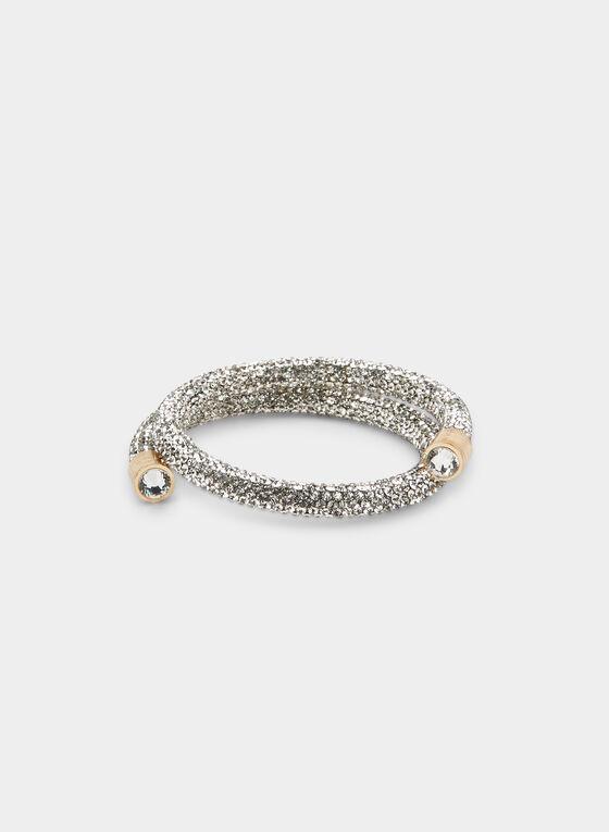 Crystal Coil Bracelet , Silver
