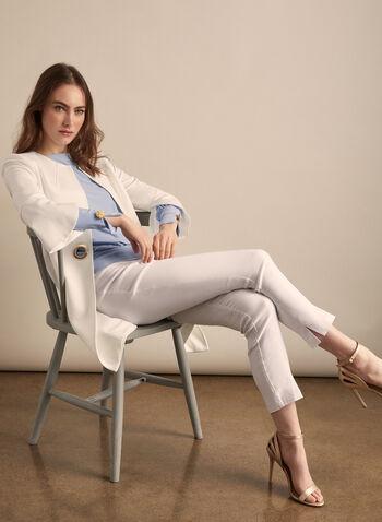 Pantalon pull-on à tissu très extensible, Blanc,  pantalon, jambe étroite, pull-on, très extensible, ultra tech, fentes, printemps été 2020