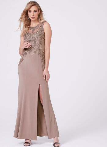Cachet - Embroidered Mesh Jersey Gown, Purple, hi-res