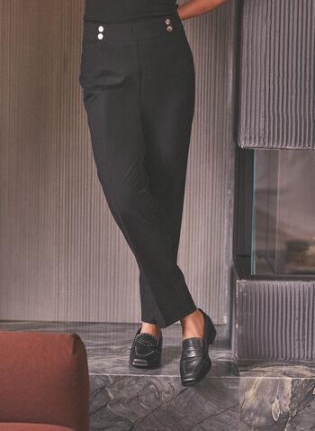 Amber Slim Leg Pants, Black,  pants, amber, slim leg, high rise, pleats, side zipper, metallic, pockets, stretchy, spring summer 2020