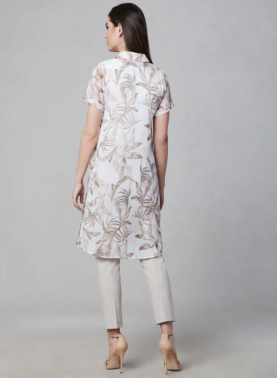 Blouse longue à motif floral, Blanc