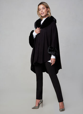 Ness - Faux Fur Trimmed Poncho, Black, hi-res,  fall winter 2019, knit, faux-fur, cape, pashmina, ruana