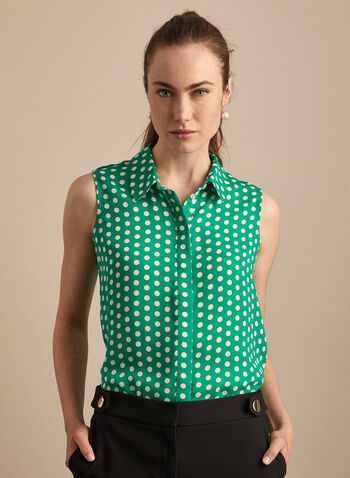 Sleeveless Polka Dot Print Blouse, Green,  top, blouse, shirt collar, polka dot, sleeveless, concealed buttons, rounded hemline, spring summer 2020