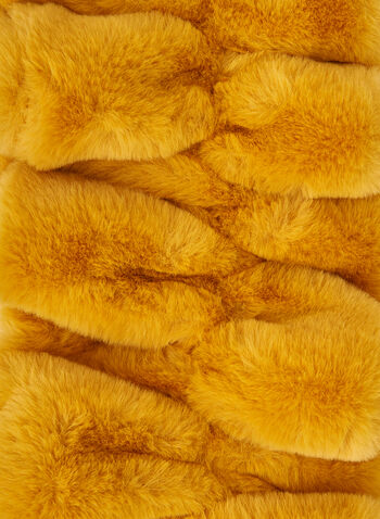 Faux Fur Crossover Scarf, Yellow,  scarf, crossover scarf, faux fur scarf, faux fur, fall 2019, winter 2019