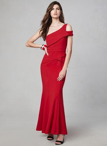 Cachet - One-Shoulder Peplum Dress, Red,  evening dress, peplum, sleeveless, cold shoulder, godet, fall 2019, winter 2019