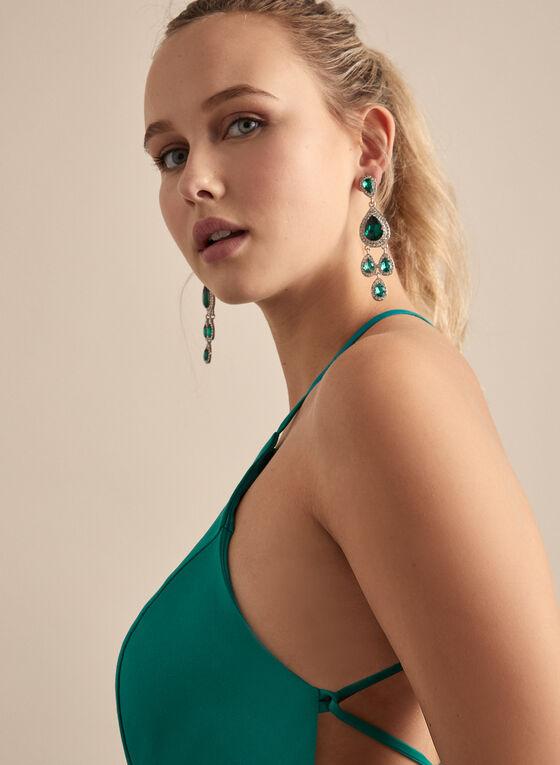 Cachet - Open Back Satin Dress, Green