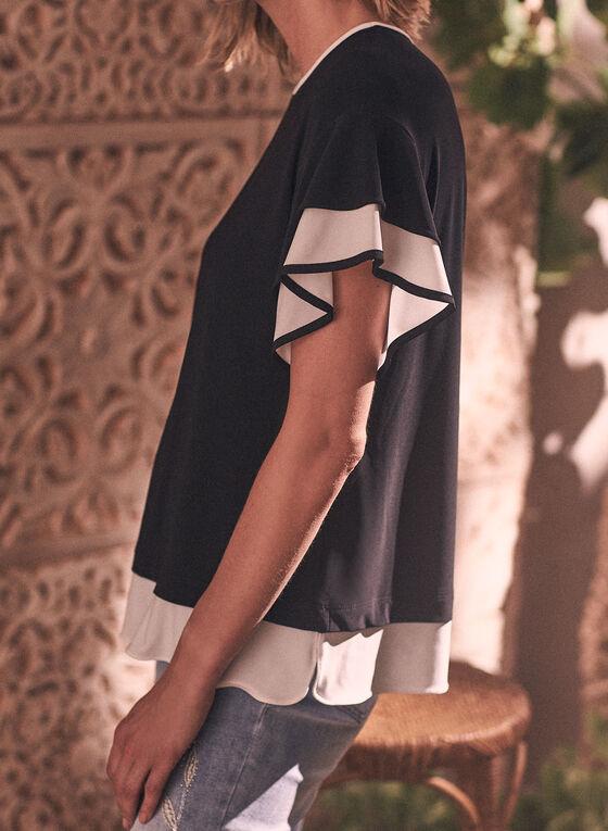 Joseph Ribkoff - Contrast Sleeve Top, Black