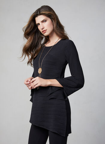 Frank Lyman – Asymmetric Pleated Tunic, Black, hi-res,  long blouse