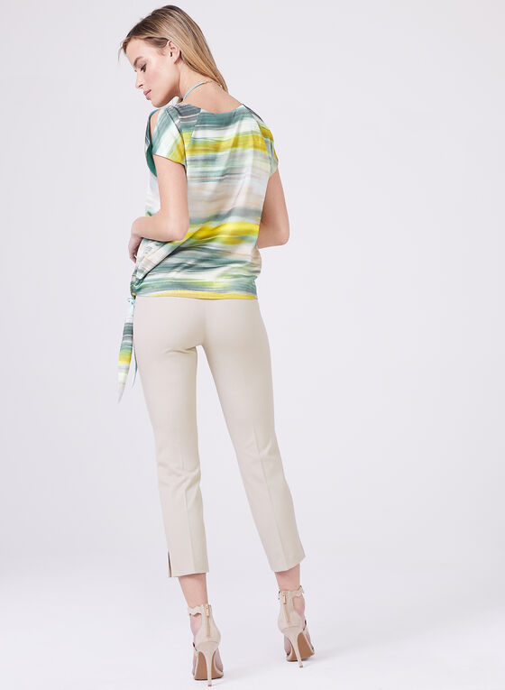 Blended Stripe Print Blouse, Blue, hi-res