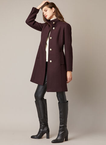 High Collar Wool Blend Coat, Purple,  coat, wool, button front, high collar, pockets, fall winter 2020