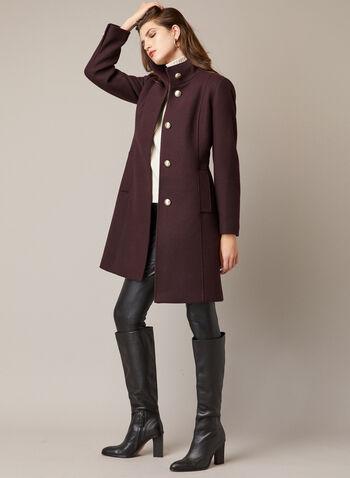 Manteau à col montant en laine mélangée, Violet,  automne hiver 2020, manteau, laine, col montant, boutons, poches, martingale, laine