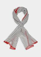 Chevron Print Silk Scarf, Red, hi-res