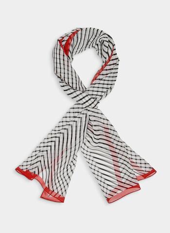 Chevron Print Silk Scarf, Red, hi-res,  stripe, spring 2019