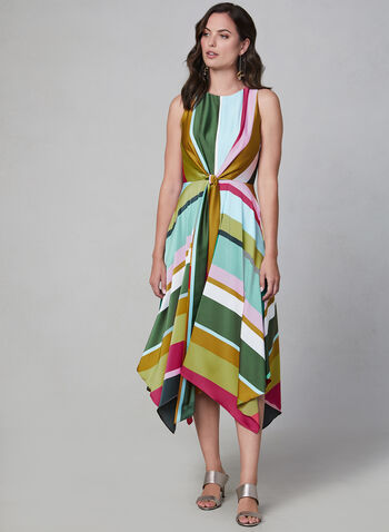 Maggy London - Sleeveless Midi Dress, Multi, hi-res,  stripe print, charmeuse, tie detail, fall 2019, winter 2019