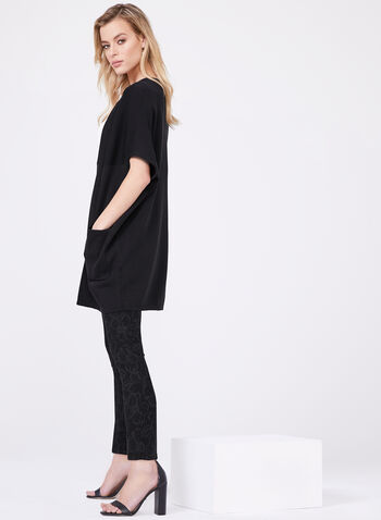 Cape Sleeve Cocoon Cardigan, Black, hi-res