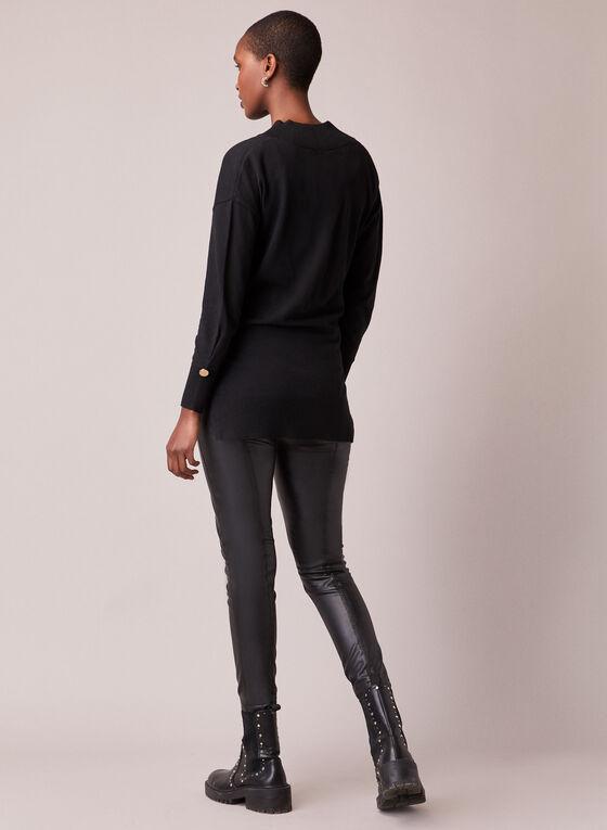Deep V Neck Knit Sweater, Black