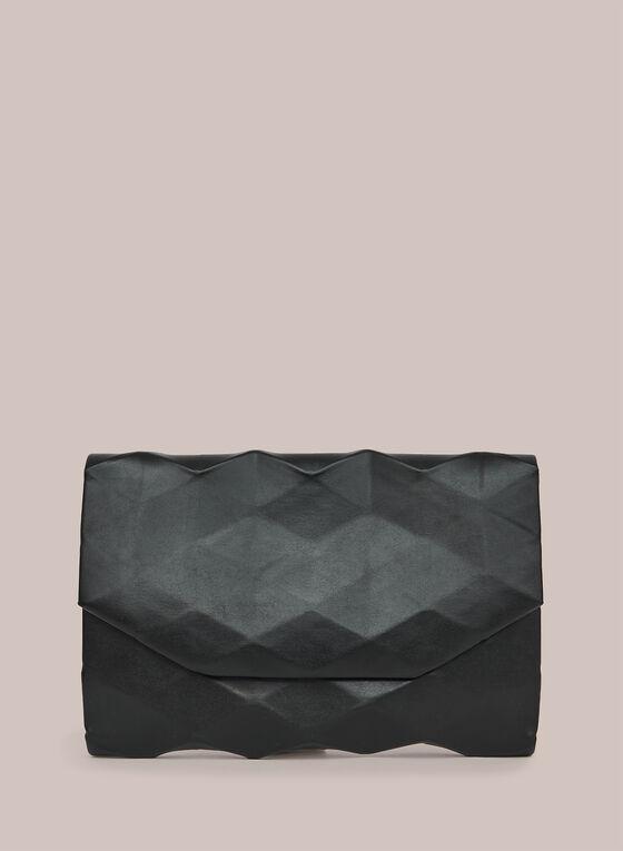 Pochette en relief aspect métallisé, Noir