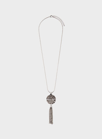 Hammered Metal Chain Tassel Necklace, Silver, hi-res