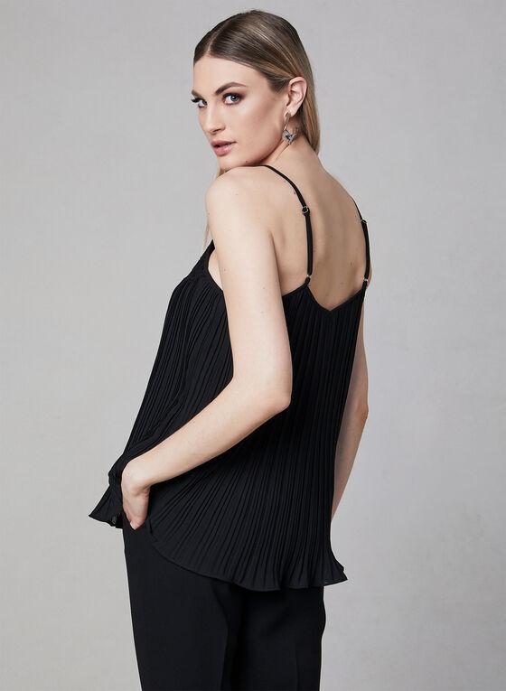Elena Wang - Camisole plissée à encolure dentelle, Noir, hi-res