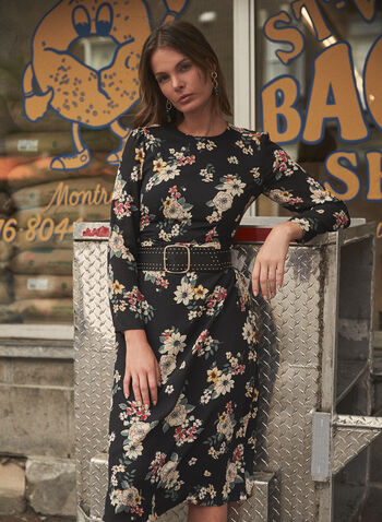 Vince Camuto - Floral Print Dress, Black,  dress, round neck, long sleeves, floral print, fall winter 2021