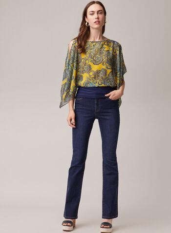 Paisley Print Kimono Blouse, Yellow,  blouse, kimono, paisley, chiffon, spring summer 2020