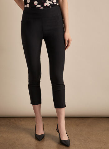 Zipper Hem Pull-On Capris, Black,  capris, pull-on, ankle zipper, pockets, bengaline, stretchy, spring summer 2020
