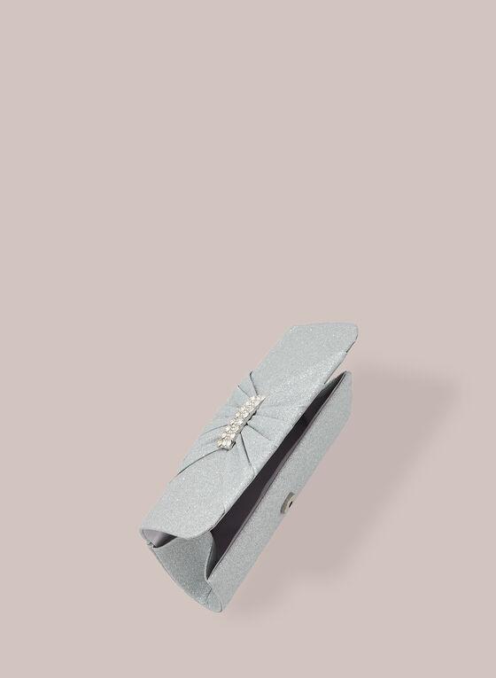 Pochette pailletée à rabat effet plissé, Argent