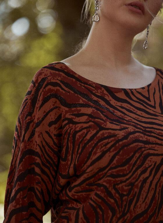 Scoop Neck Tiger Print Top, Brown