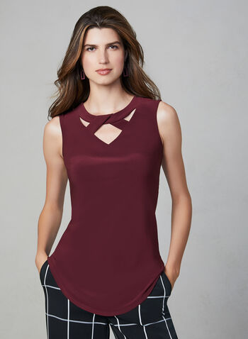Sleeveless Twist Detail Top, Purple,  soft, stretchy, jersey, scoop neck, cutout, fall 2019, winter 2019