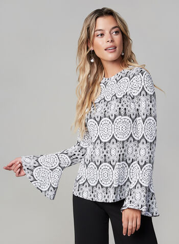 Joseph Ribkoff - Printed Bell Sleeve Top, Black, hi-res,  fall winter 2019, jersey fabric, bell sleeves, long sleeves