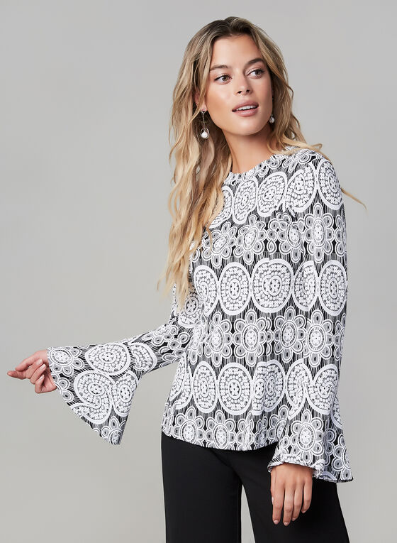 Joseph Ribkoff - Printed Bell Sleeve Top, Black