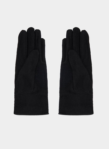 Pom Pom Detail Gloves, Black, hi-res