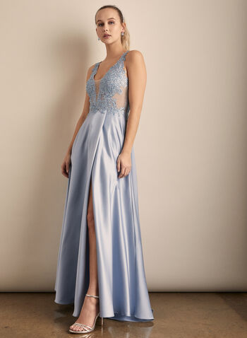 Xscape - Embroidered Detail Satin Gown, Blue,  prom dress, formal gown, gown, ballgown, prom ballgown, prom gown, embroidery, mesh gown, satin, satin gown, sleeveless, v-neck, prom 2020