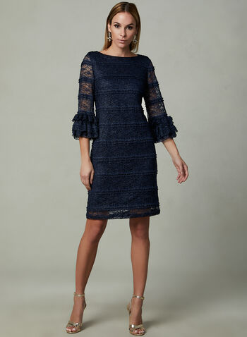 SD Collection - Glitter Lace Sheath Dress, Blue, hi-res