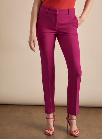 Giselle Slit Hem Pants, Pink,  pants, giselle, slim leg, high rise, ankle, pleats, slits, stretchy, spring summer 2020