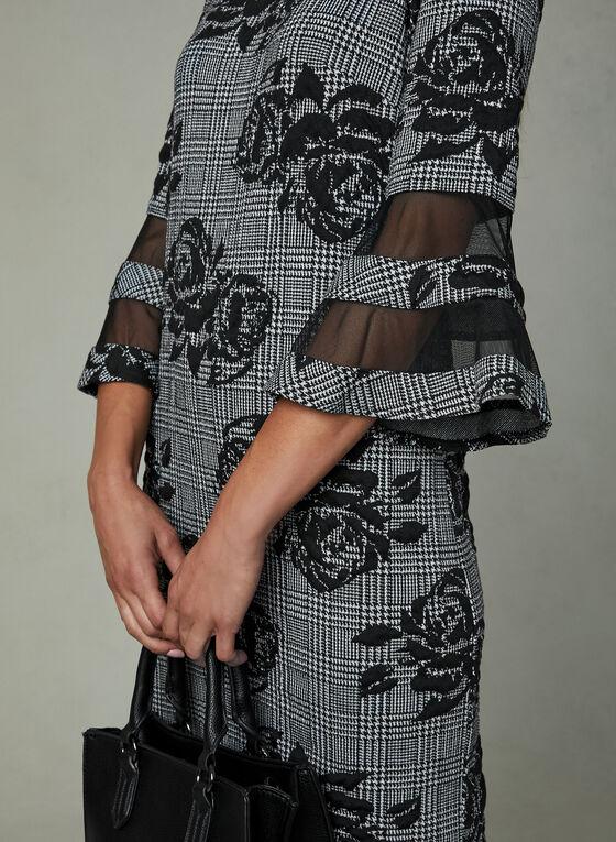 Sandra Darren - Robe pied-de-poule à fleurs, Noir, hi-res