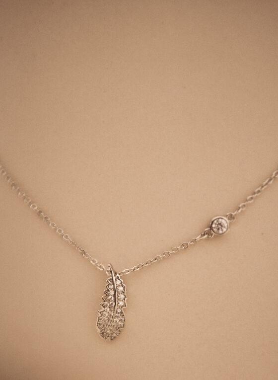 Leaf Pendant Necklace, Silver