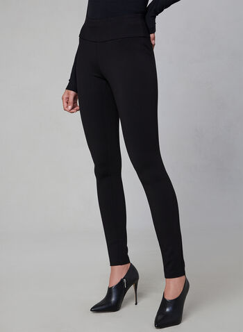 Kayla Mid-Rise Leggings, Black, hi-res,  leggings, Ponte de Roma, Kayla, pull-on, mid rise, fall 2019, winter 2019