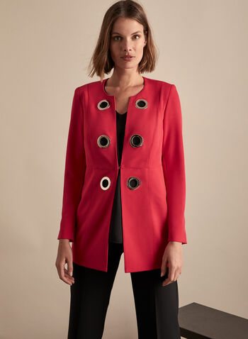Vex - Redingote Style Blazer, Red,  vex, spring summer 2020, stretchy fabric, long sleeves, grommet details