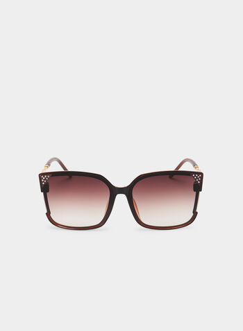 Square Frame Sunglasses, Brown, hi-res