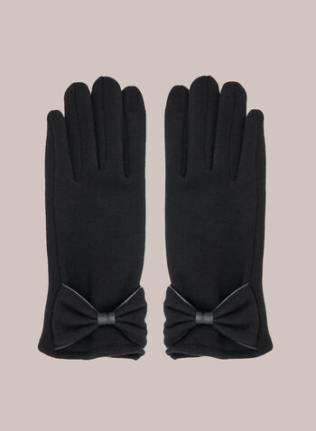 Bow Detail Knit Gloves, Black,  fall winter 2020, gloves, knitted, bow, tie, holiday, holiday 2020, gift