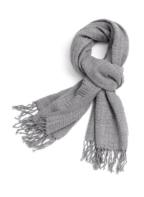 Fringe Knit Scarf , Grey, hi-res