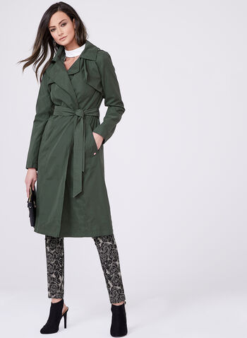 Ellen Tracy - Trench imperméable à capuchon, Vert, hi-res