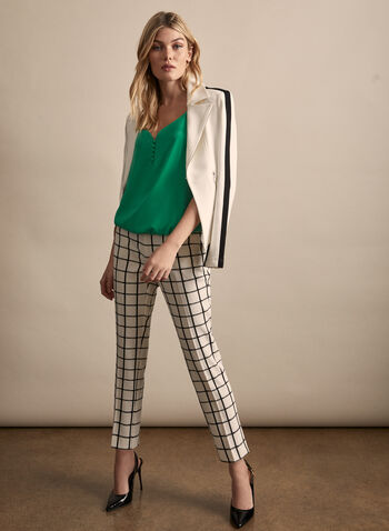 Plaid Print Amber Pants, White,  spring summer 2020, crepe, ankle length, slim leg, plaid print