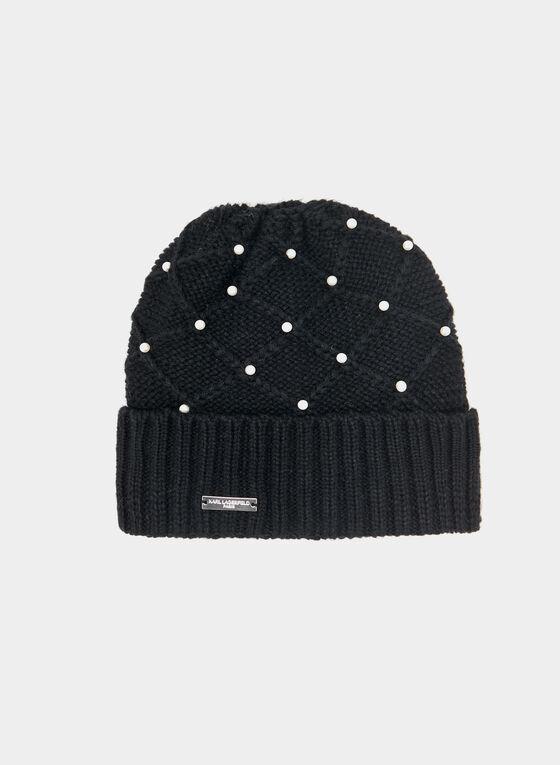 Karl Lagerfeld Paris - Pearl Embellished Knit Toque, Black, hi-res