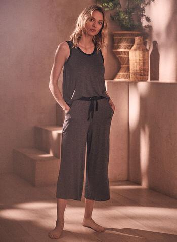 Tank & Capris Pyjama Set, Grey,  contrast, spring summer 2021, pj, pyjama, sleepwear, set, tank, capris, solid, pull-on, elastic waist, comfort, soft